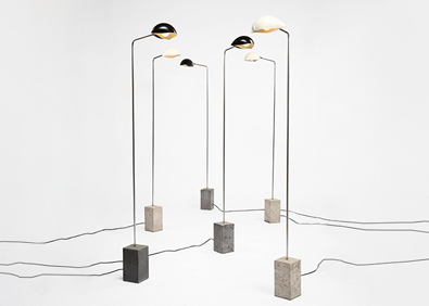 David Weeks Studio, Cement Standing Lamps, Shell Shades