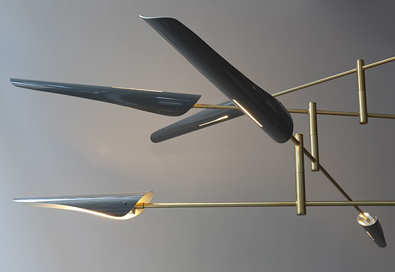 David Weeks Sarus in Grey and Brass, Vancouver Modern Lighting