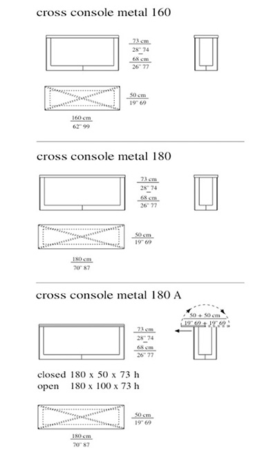 Meridiani Cross Consoles technical drawings
