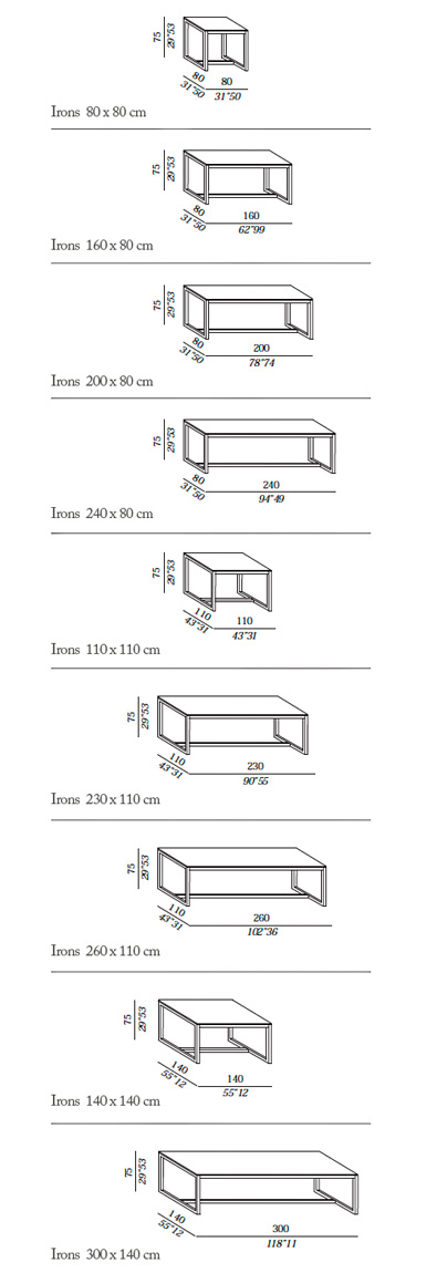 Meridiani Irons Tables technical drawings