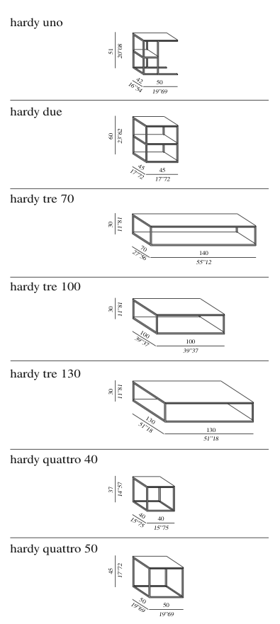 Meridiani Hardy tables technical drawings
