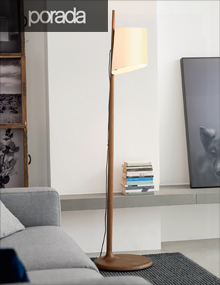 Porada Stick Lamp in solid Walnut, Modern Lighting Vancouver
