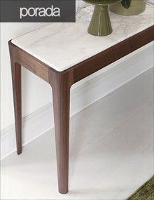 Porada Ziggy Console in Walnut and Calacatta Gold Marble